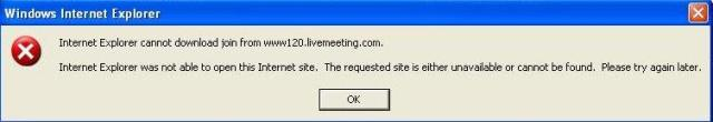 Live Meeting Error Screenshot