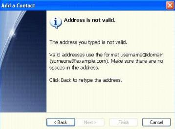 MSN Address Not Valid