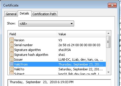 Lync Invalid Certificate
